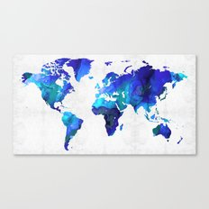 World Map 17 - Blue Art … Canvas Print