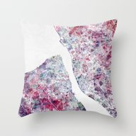 Throw Pillow featuring Liverpool Map by MapMapMaps.Watercolo…