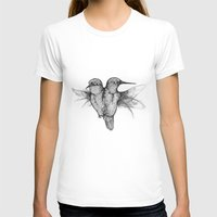 Conjoined Hummingbirds Womens Fitted Tee White SMALL