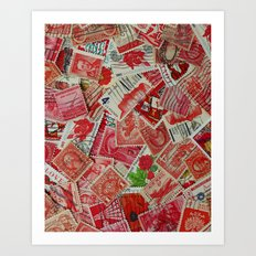 Vintage Postage Stamp Collection - Red Art Print