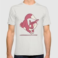 The quick brown fox jumps over… Mens Fitted Tee Silver SMALL