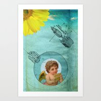 Angel Playing Music In S… Art Print