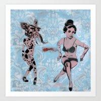 Pinup Girls On A Damask Art Print