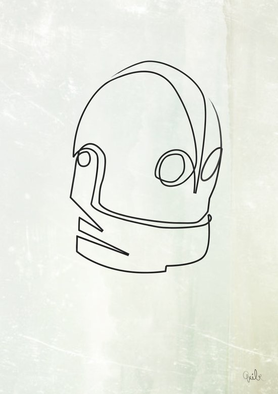 One line Iron Giant Canvas Print