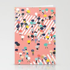 Crossing The Street On a Rainy Day Stationery Cards