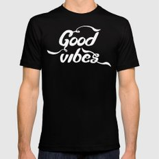 good vibes SMALL Black Mens Fitted Tee