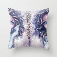 Winter Twins Throw Pillow