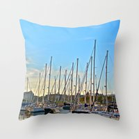 Harbor: Barcelona, Spain Throw Pillow