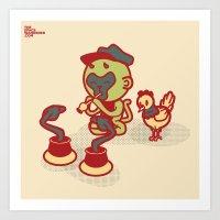 Snake Charmer Monkey Art Print
