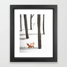 Le Renard dans la neige Framed Art Print