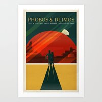THE MOONS OF MARS - Phobos & Deimos | Space | X | Retro | Vintage | Futurism | Sci-Fi | Two Art Print
