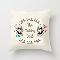 The Funny Talking Dead Skull Picture Throw Pillow