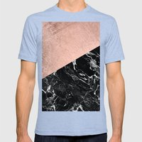 Bold modern rose gold black marble color block Mens Fitted Tee Tri-Blue SMALL