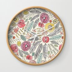 feather fleur watercolor Wall Clock