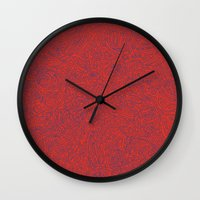 Abstract #002 Cells (Red) Wall Clock