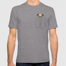Pocket Pug Mens Fitted Tee Tri-Grey SMALL
