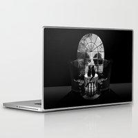 skull Laptop & iPad Skins featuring Room Skull B&W by Ali GULEC