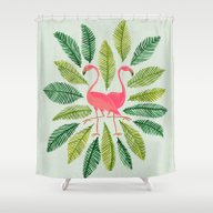 Shower Curtain featuring Flamingos by Cat Coquillette