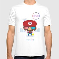 Mario 3d Mens Fitted Tee White SMALL