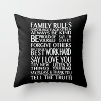 Family Rules Throw Pillow