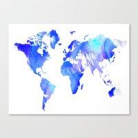 Watercolour World Canvas Print