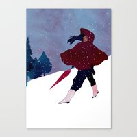 walking on snow Canvas Print