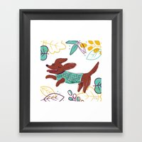 Happy Fall, Dogs! (Ginge… Framed Art Print