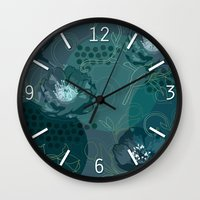 Hellabore line pattern, blue Wall Clock