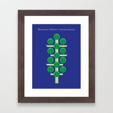 Vegetable: Brussels Sprout Blue Framed Art Print