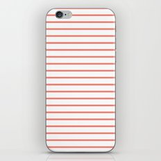 Horizontal Lines (Salmon/White) iPhone & iPod Skin