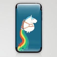 Fat Unicorn on Rainbow Jetpack iPhone & iPod Skin