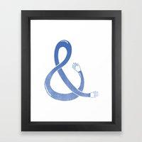 Handpersand - Blue Framed Art Print