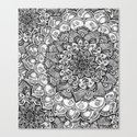 Shades of Grey - mono floral doodle Canvas Print