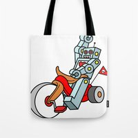 Hot Wheeling Robot Love Tote Bag
