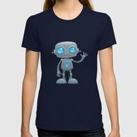 Waving Robot Womens Fitted Tee Navy SMALL