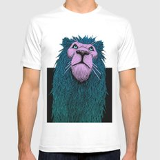 Lion Bust SMALL White Mens Fitted Tee