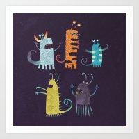 Secretly Vegetarian Monsters Art Print