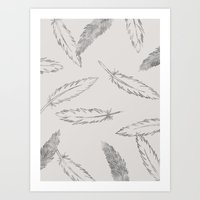 Painted Feathers - in Taupe Art Print