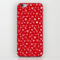 White stars abstract on bold red background illustration iPhone & iPod Skin