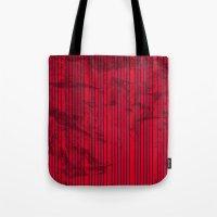 Grunge Blue stripes on bold red background illustration. Tote Bag