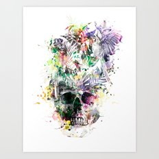Skull - Parrots 2 Art Print