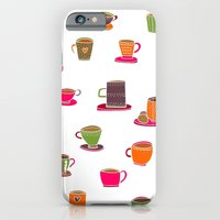 iPhone & iPod Case featuring Coffee Cup Green & Orange by Shakkedbaram