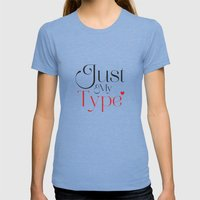 Just My Type Womens Fitted Tee Tri-Blue SMALL