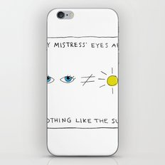 My mistress' eyes are nothing like the sun comic iPhone & iPod Skin