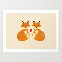 Love Foxes Art Print