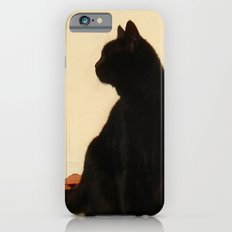 Side View Silhouette of A Black Cat Sitting On A Roof Slim Case iPhone 6s