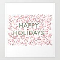 Happy Holidays Swirlies Art Print
