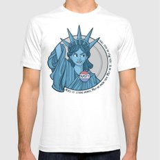 Nasty Lady Liberty White SMALL Mens Fitted Tee