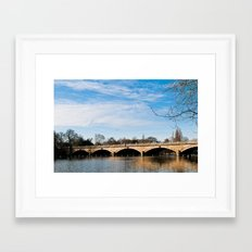 Serpentine Bridge and Lake in London Framed Art Print