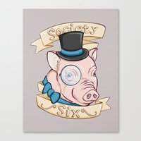 Gentleman Pig (S6 Tee) Canvas Print